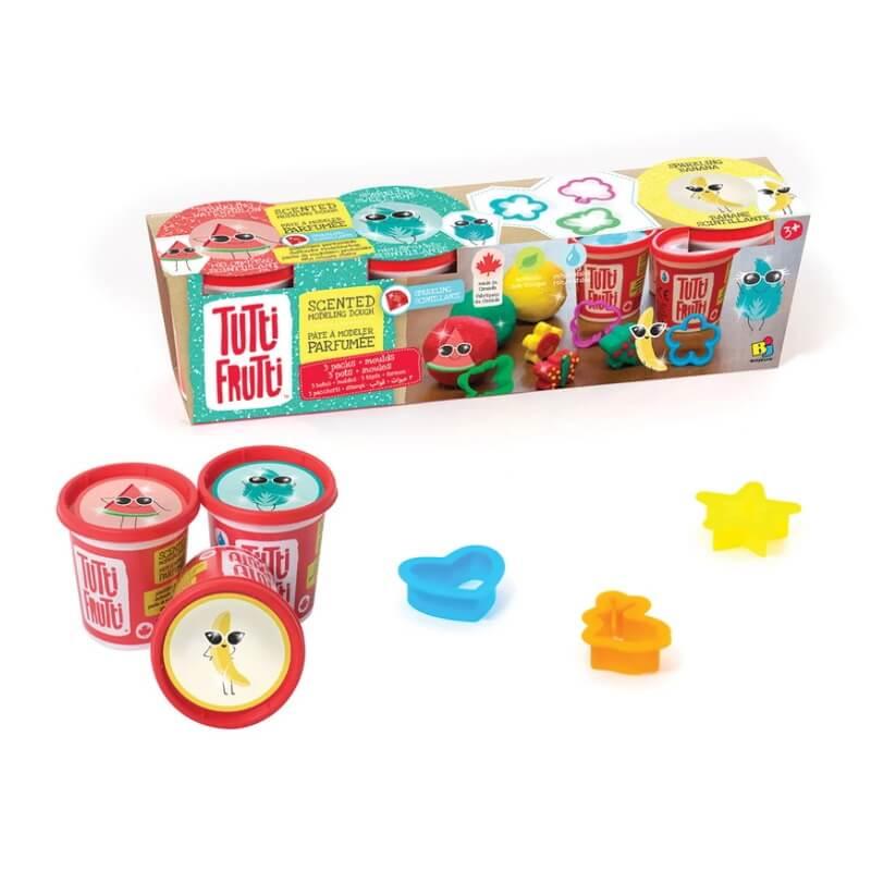 Plasticina Tutti Frutti 3 potes Glitter + Moldes