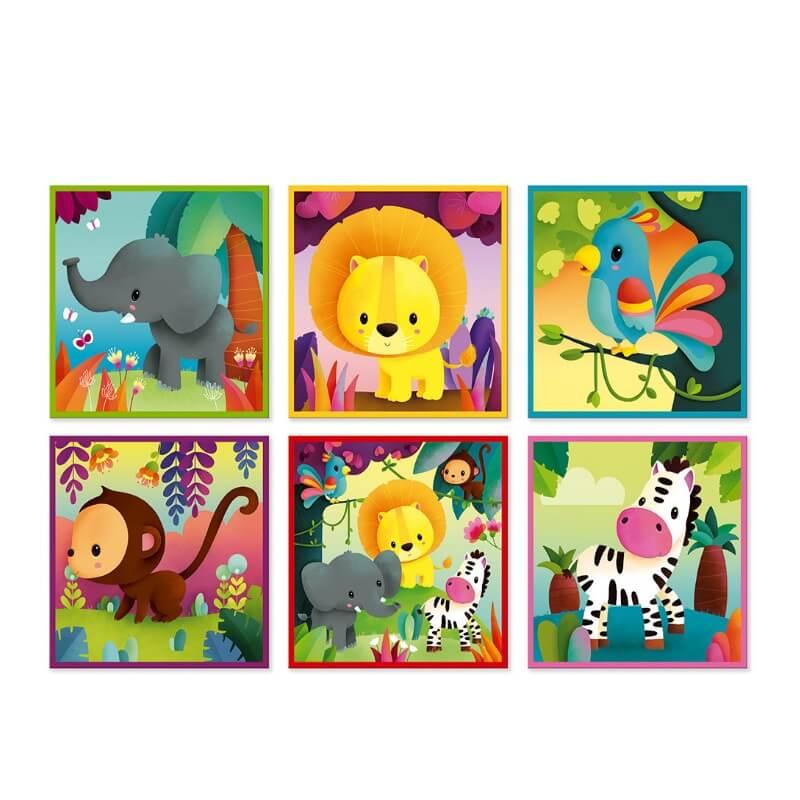 Puzzle de Cubos Animais da Selva