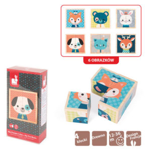 Puzzle de 4 Cubos Animais do Bosque